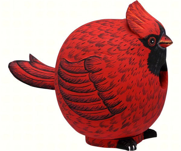 Cardinal Birdhouse, Hand-carved Albesia Wood