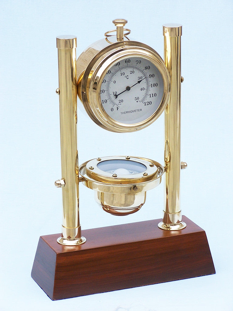 Clock | Brass with Compass and Thermometer 15