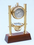 Clock | Brass with Compass and Thermometer 15""