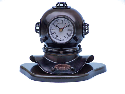 Clock | Iron Vintage Divers Helmet Quartz Wood Base 12""
