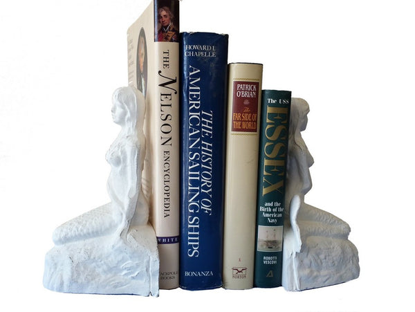 Bookends | Whitewash Cast Iron Mermaids 8""