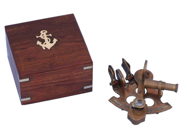 "Sextant | Vintage Nautical Antique Brass 4"" with Rosewood Box"