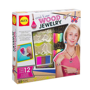 Alex Toys Diy Wear Stitch and Wear Wood Jewelry, Multi Color 611110-3