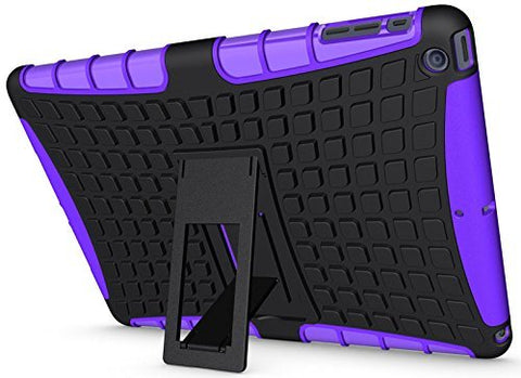Barrier® Hard Dual Armor Hybrid Bumper Back Case Cover with Flip Kick Stand For Apple iPad Mini 2 and Apple iPad Mini 3 ( PURPLE