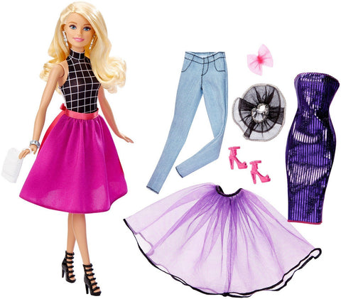 Barbie Doll Fashion Mix N Match Pink / Purple / Black DJW57-DGW58