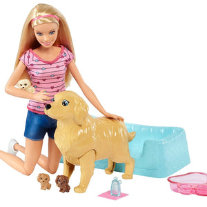 Barbie New-Born Pups Doll and Pets FDD43