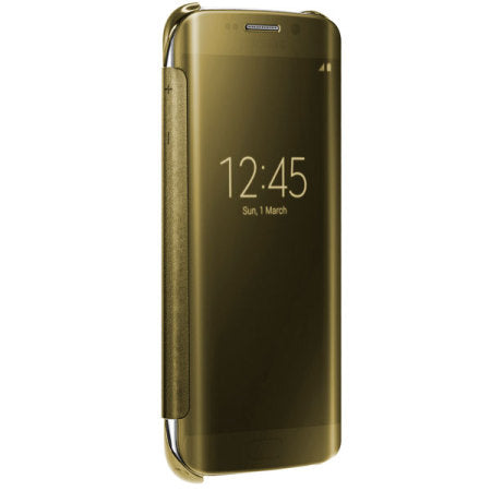 Barrier® Clear View Mirror Finish Flip Cover for Samsung Galaxy S6 Edge - Gold