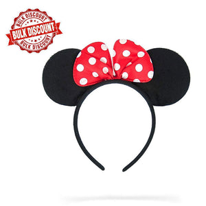 Jessie Minnie Mouse Ears Polka Dots Bow Headband (Red)  ( BULK BUY 20 Pieces )
