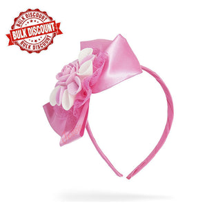 Jessie Satin Rose Headband ( Pink ) (BULK BUY 12 Pieces )