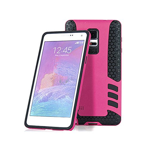Barrier® Dual Armor Hybrid Grip Back Shockproof Cover for Samsung Note 4 ( PINK )