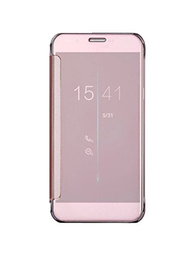 Barrier® Clear View Mirror Finish Flip Cover for Samsung Galaxy S6 Egde Plus ( PINK / ROSE GOLD )