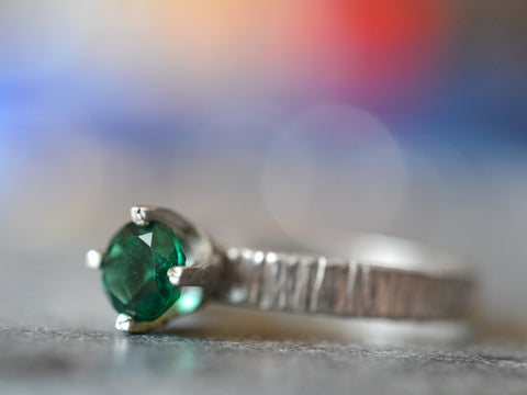 Back in stock! Emerald Solitaire Engagement Rings & Wedding Sets