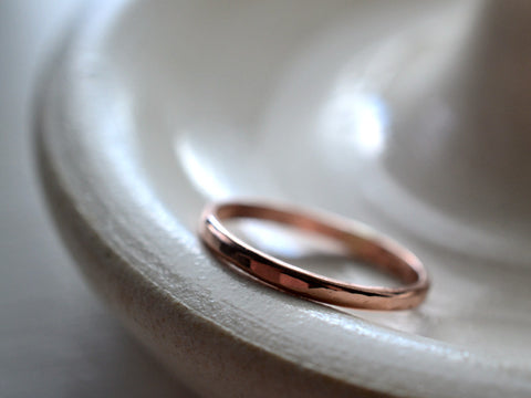 Dainty 14K Rose Gold Wedding Band