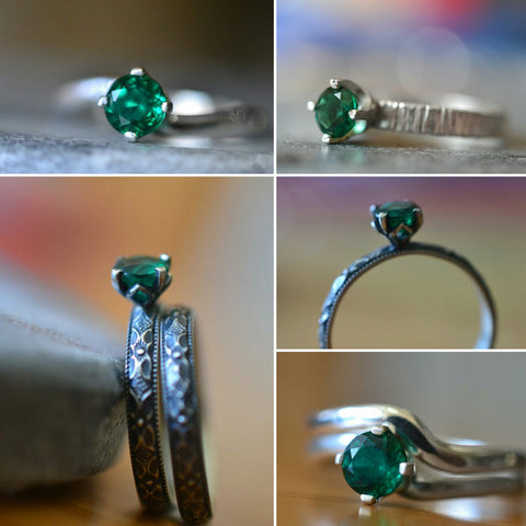 5mm Emerald Solitaire Engagement Rings & Sets