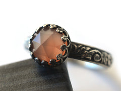 Peach Moonstone Oxidized Renaissance Ring