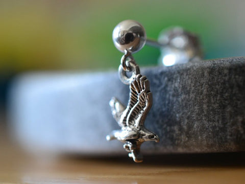 Sterling Silver Ball Stud With Eagle Charm