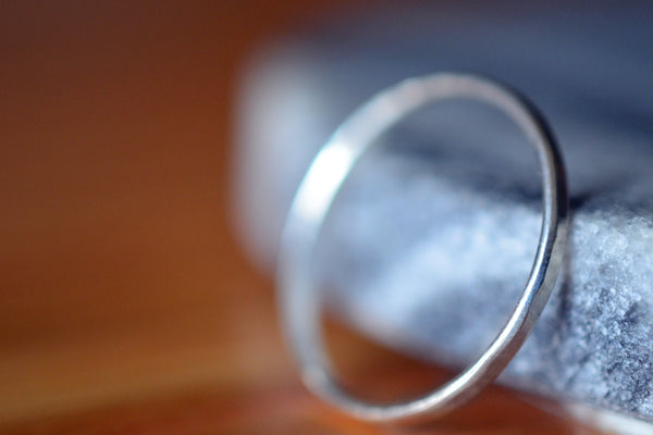 Simple Hammered 10ct White Gold Ring For Women