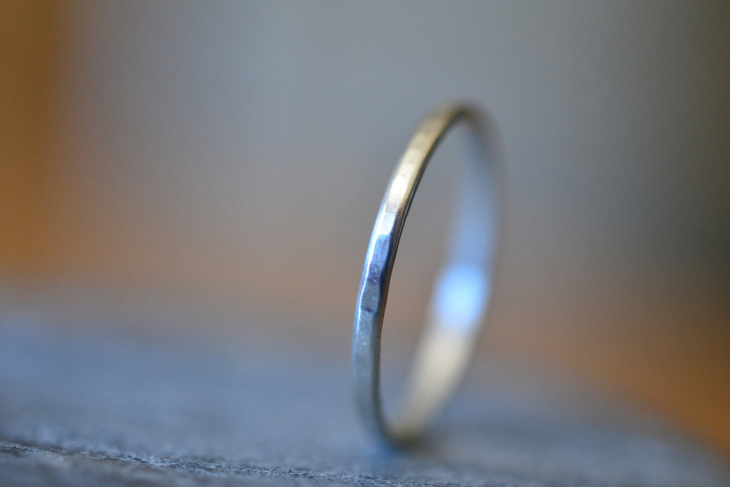 Dainty 10K White Gold Stacking Band