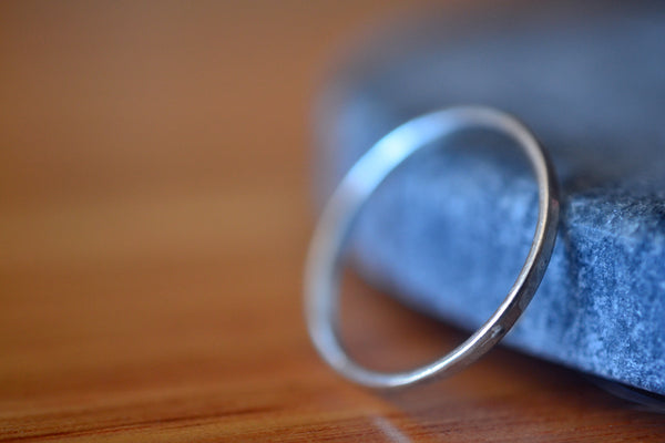 Dainty 1.5mm 10K White Gold Stack Ring Hammered or Smooth