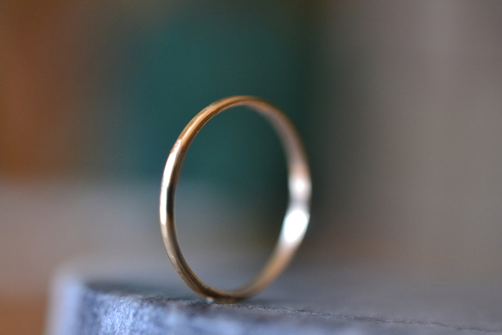 Simple 10K Yellow Gold Stacking Band With Hammered Finish