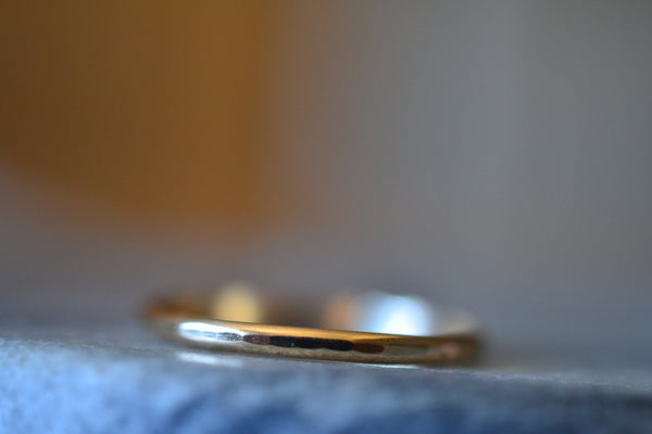 Dainty 10K Yellow Gold Stack Ring, Matte Satin or Shiny Finish