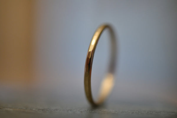 Simple 10Ct Yellow Gold Stack Ring With Hammered Finish