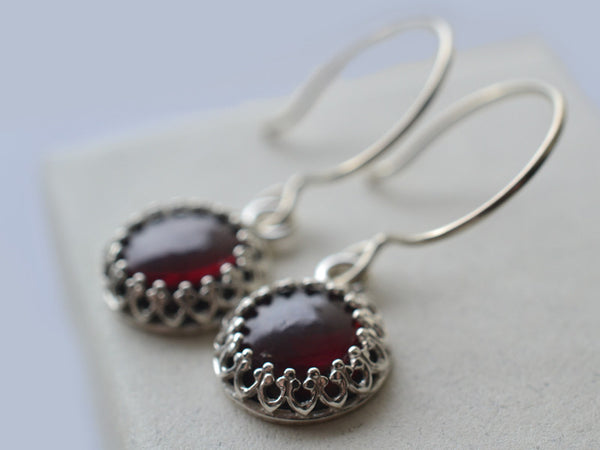 Dangly 10mm Almandine Garnet Cabochon Earrings in Silver