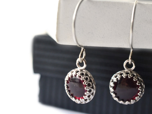 Dangly 10mm Almandine Garnet Earrings in Silver