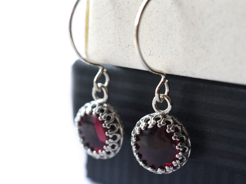 10mm Almandine Garnet Earrings, Sterling Silver, Natural Gemstone Jewellery