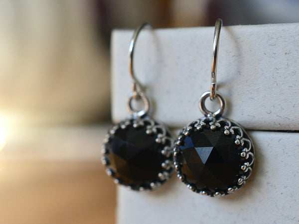 Dangly Black Spinel Earrings in Sterling Silver