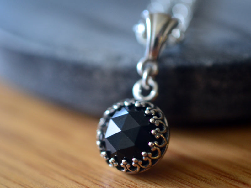 10mm Black Spinel Necklace in Sterling Silver