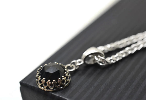 Simple Black Spinel Necklace with Silver Chain