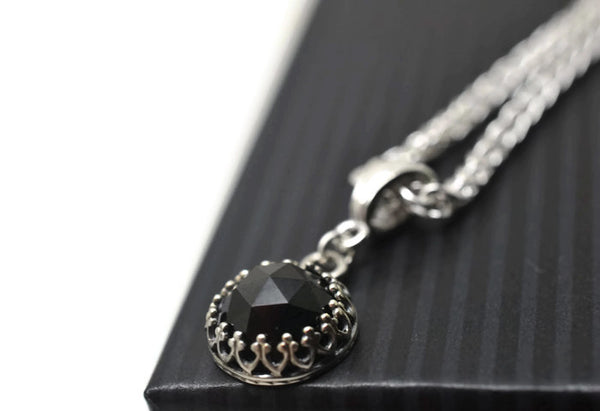 Handmade 10mm Rose Cut Black Spinel Necklace in Silver