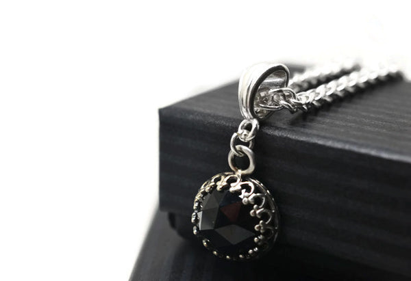 Handmade 10mm Natural Black Spinel Pendant in Silver