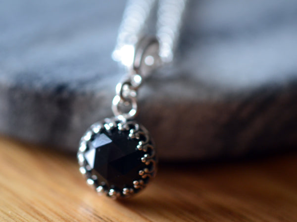 Simple Rose Cut Black Spinel Pendant With Sterling Silver Chain