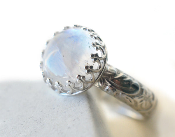 Personalised Blue Moonstone Engagement Ring in Floral Silver