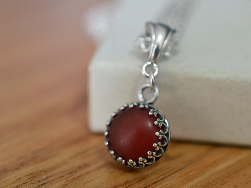 10mm Carnelian Necklace in Sterling Silver