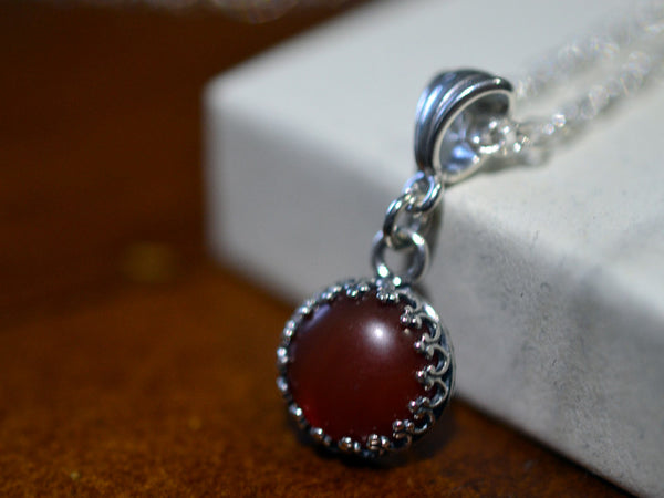 Handmade Sterling Silver & 10mm Carnelian Necklace
