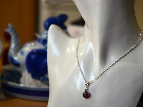 Handmade Sterling Silver 10mm Carnelian Necklace
