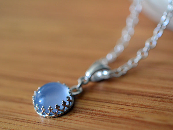 Handmade Blue Chalcedony Necklace in Sterling Silver
