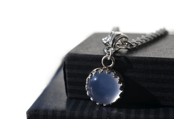 Handmade 10mm Blue Chalcedony Pendant with Silver Chain