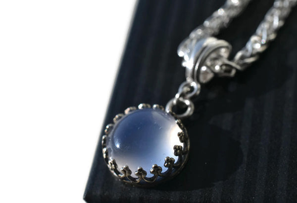 Handmade Natural Chalcedony Wedding Necklace in Sterling Silver