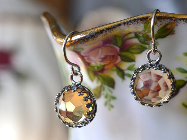 Handmade Dangly Sterling Silver Honeycomb Citrine Earrings