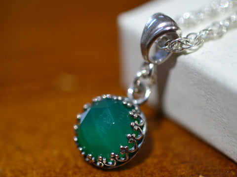 Handmade Green Onyx Necklace with Sterling Silver Chain