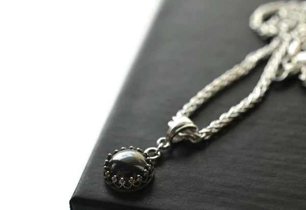 Gothic Hematite Necklace with Silver Chain