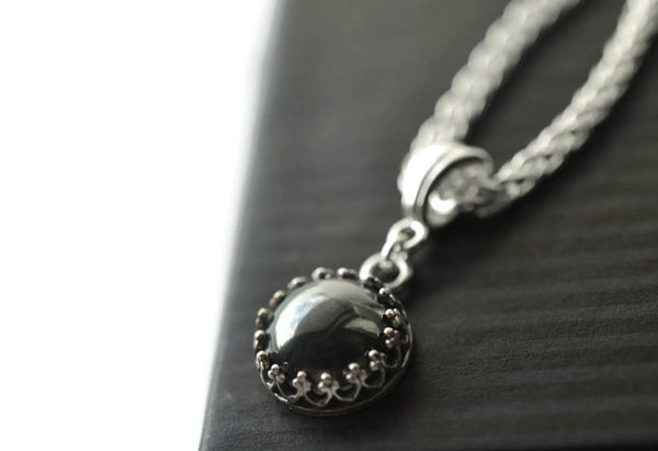Handmade 10mm Hematite Pendant in Sterling Silver