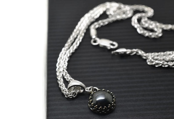 Handmade Gothic Haematite Necklace in Sterling Silver