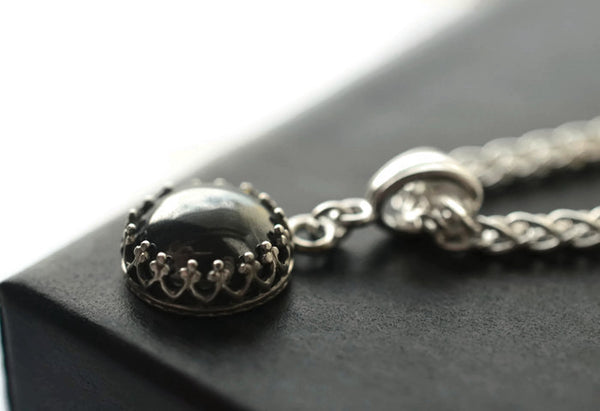 Handmade Gothic Haematite Pendant with Silver Chain