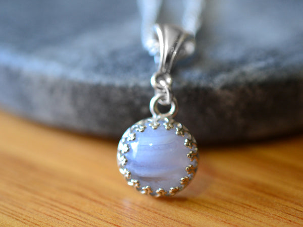 Minimalist Sterling Silver Bezel Set Blue Lace Agate Necklace