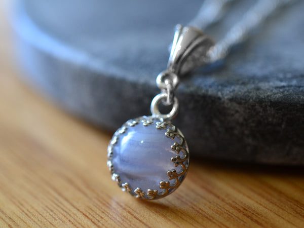 Simple Sterling Silver & Blue Lace Agate Necklace